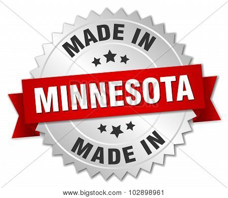 Made In Minnesota Silver Badge With Red Ribbon