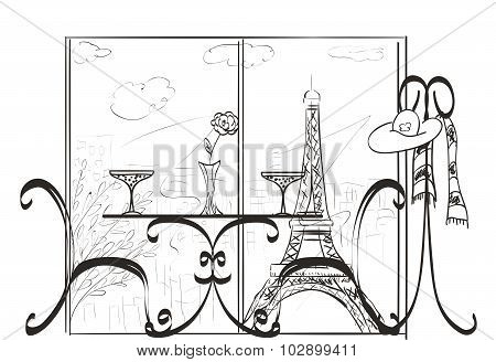Love In Paris. Hand Drawn Sketch