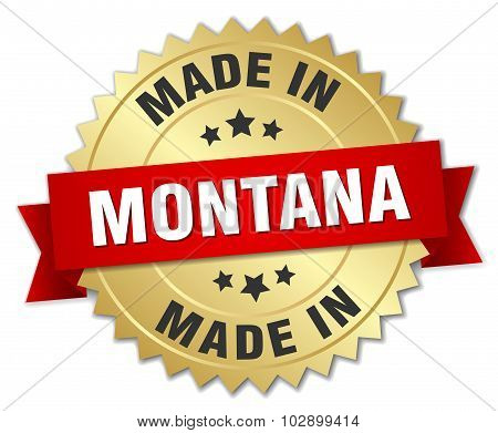 Made In Montana Gold Badge With Red Ribbon