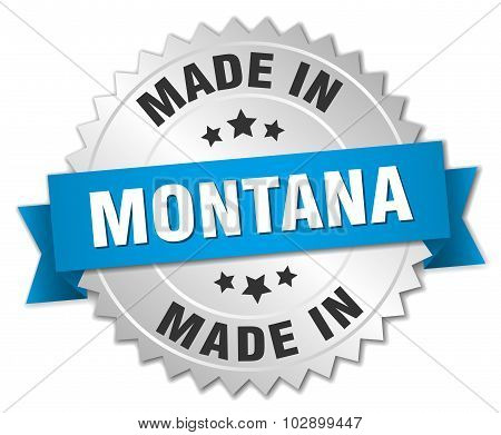 Made In Montana Silver Badge With Blue Ribbon