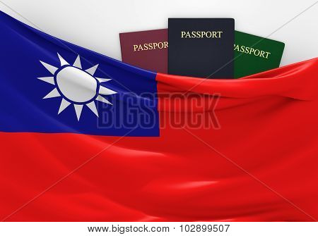 Travel and tourism in Taiwan, with assorted passports