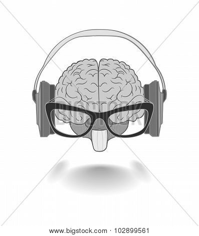 Concept Of The Human Brain With Glasses Enjoyer Music From The Headphones