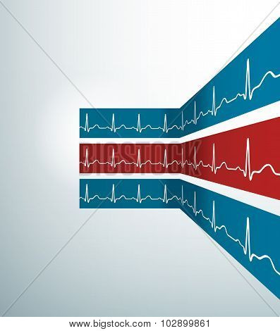 Abstract Vector Stripes With Heartbeat Line. Illustration