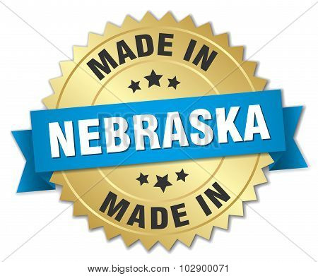 Made In Nebraska Gold Badge With Blue Ribbon