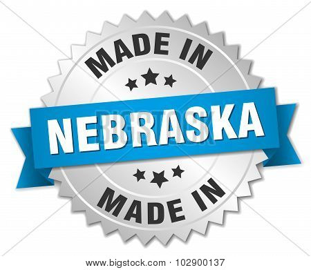 Made In Nebraska Silver Badge With Blue Ribbon