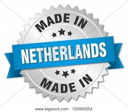 Made In Netherlands Silver Badge With Blue Ribbon