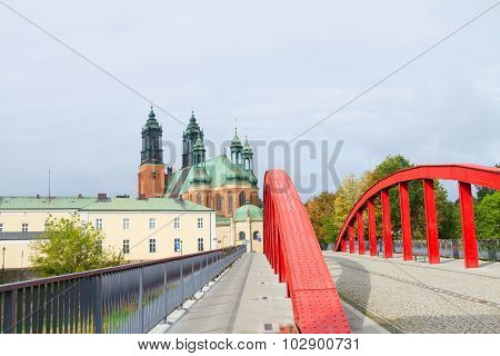 Bridge and gothic cathedral church , Poznan, Poland