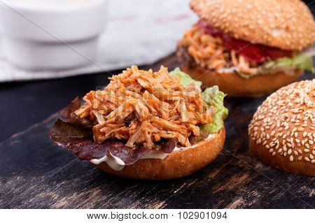 Freshly prepared sloppy joe sandwich.