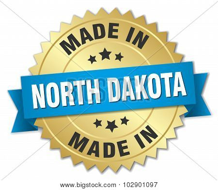 Made In North Dakota Gold Badge With Blue Ribbon