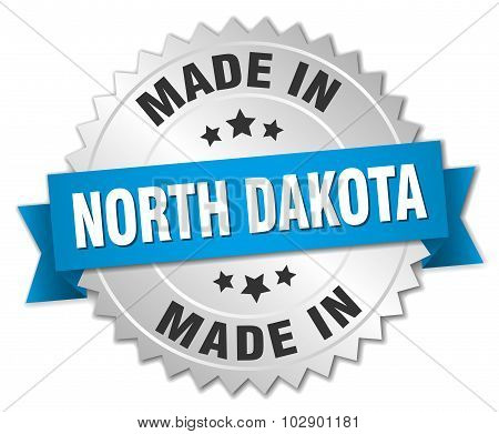 Made In North Dakota Silver Badge With Blue Ribbon