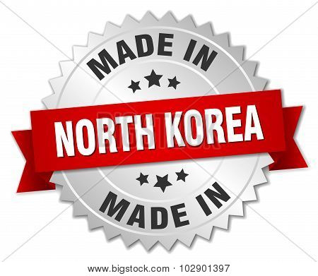 Made In North Korea Silver Badge With Red Ribbon
