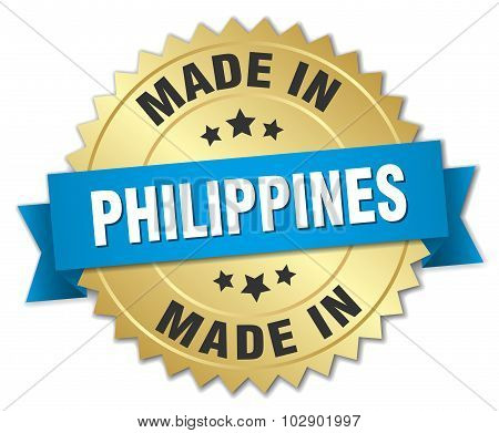 Made In Philippines Gold Badge With Blue Ribbon