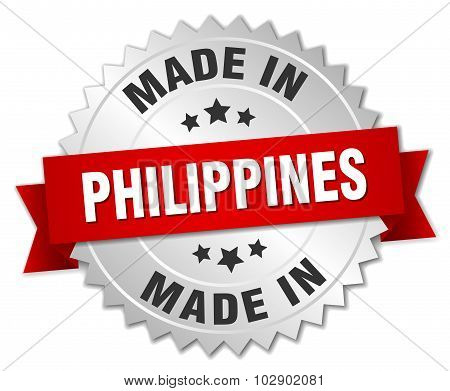 Made In Philippines Silver Badge With Red Ribbon