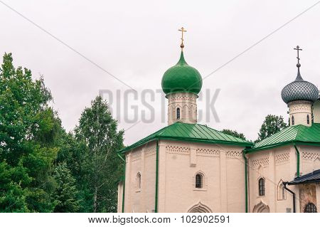 chapels and domes of church at monastery