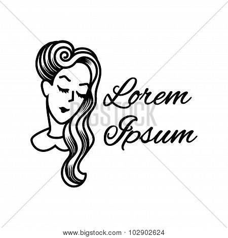Silhouette Of A Girl With Beautiful Vintage Hairstyle. Logo For Beauty Salons.