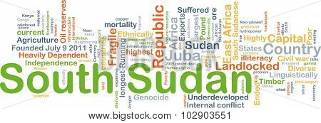 Background concept wordcloud illustration of South Sudan