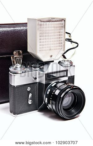 Retro Camera With Flash Isolated On White On The White Background.