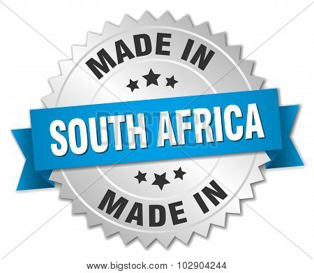 Made In South Africa Silver Badge With Blue Ribbon