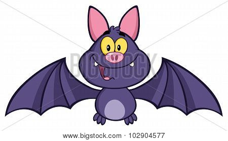 Vampire Bat Cartoon Character Flying
