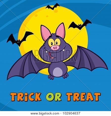 Vampire Bat Cartoon Character Flying