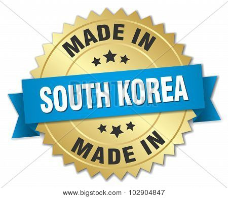 Made In South Korea Gold Badge With Blue Ribbon