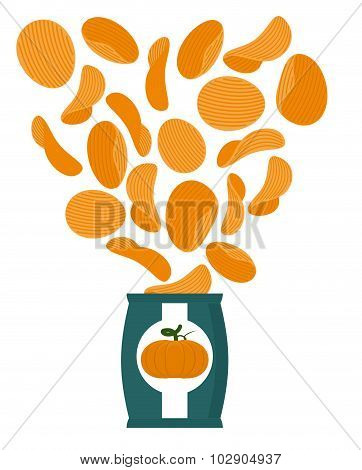 Pumpkin Chips. Packaging Of Snacks. Bundles Of Chips Fly. Vegetable Orange Chips. Food For Vegetaria