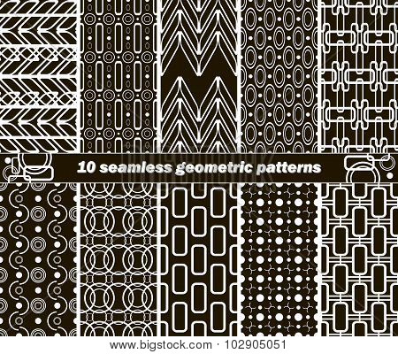 10 Seamless Geometric Black And White Patterns