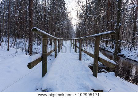 Wooden Bridge In Snow Close-up