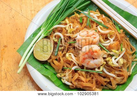 Thai Noodle Or Padthai,garnish,vegetable,shrimp And Blur Background.