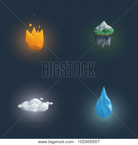 Low poly four elements symbols. 3d polygonal elemental shapes of fire, earth, air and water.