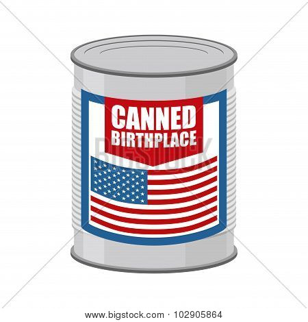 Canned Birthplace. Patriotic Canned. Part Of Motherland In Tin. Preserved Land For Emigrants From Us