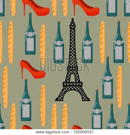 Paris Seamless Background. French Infinite Pattern. Attractions Of Country: Eiffel Tower. Traditiona