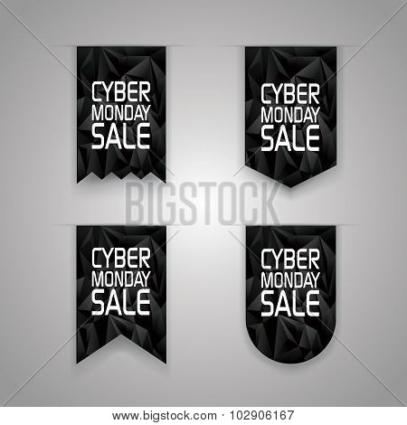 Cyber monday sale ribbon elements. Sales promotion tags with black polygonal background.