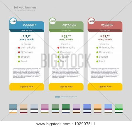 Three tariffs. interface for the site. UI UX vector banner for web app. Set tariffs. interface for the site. Pricing table, banner, order, box, button, list with plan for website.