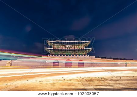 Gyeongbokgung Palace Gate At Night -  Seoul,  Republic Of Korea