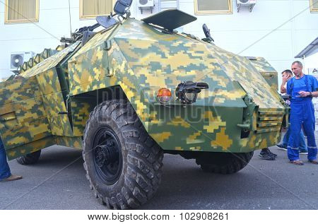 KIEV, UKRAINE - September 23, 2015:Improvised armored fighting vehicle for Civil War. Model Shush-Panzer.Made from old Soviet truck GAS-66