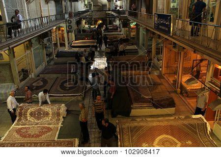 Iran, Tehran garand bazaar, persian carpet market
