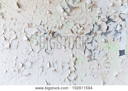 Cracked Flaking Paint On Wall, Background Texture