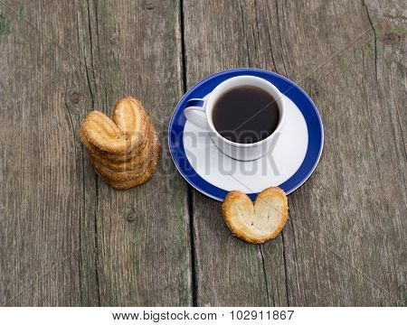 Still Life Of Coffee And Linking Of Cookies, Top View
