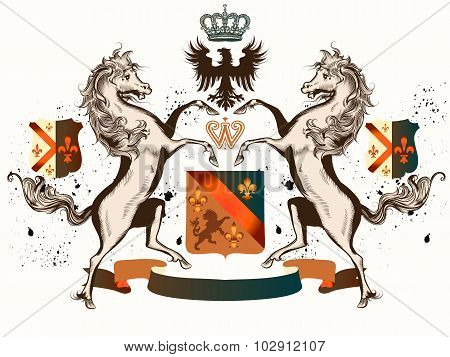 Vector Heraldic Illustration In Vintage Style With Shield, Crown And Horses For Design