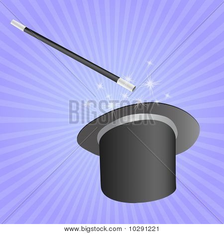 magicians hat and stick vector