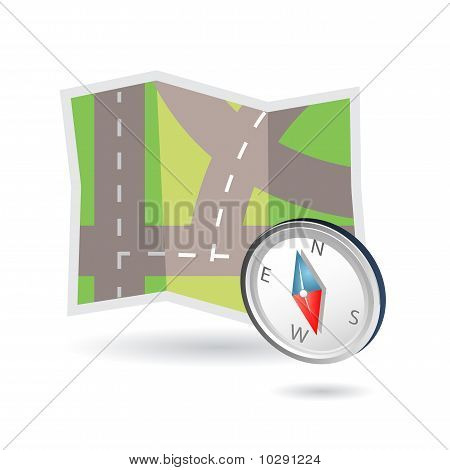 map and compass icon vector