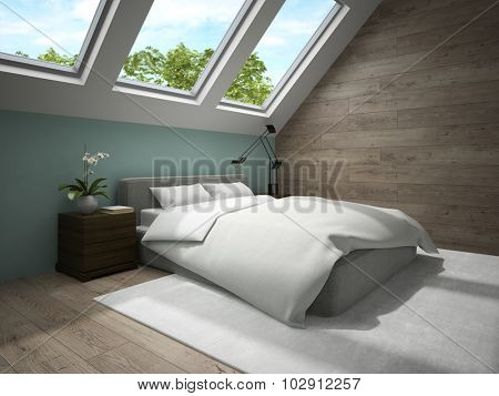 Interior of mansard bedroom with blue wall 3D rendering