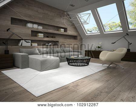 Interior of stylish mansard room 3D rendering 4