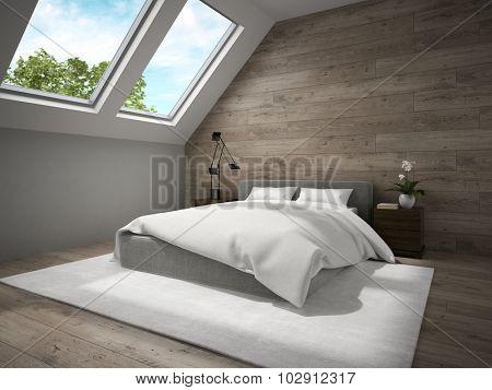 Interior of mansard bedroom with wooden wall 3D rendering