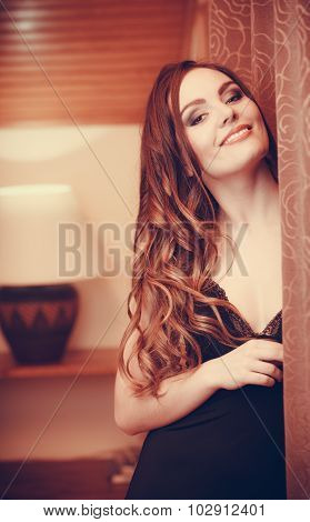 Portrait Of Happy Sensual Young Woman In Lingerie.