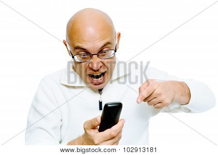 Bald Man Screaming Into The Phone. Studio. Isolated