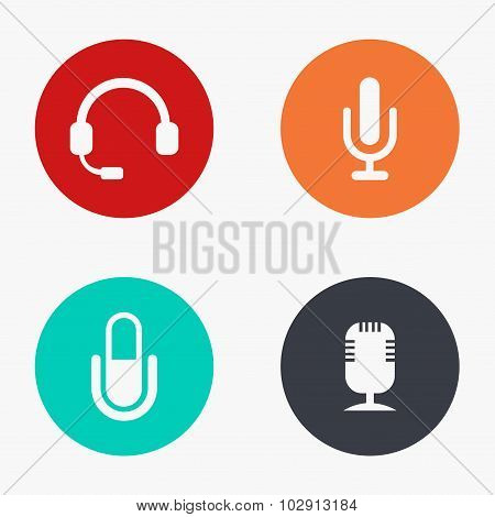 Vector modern microphone colorful icons set