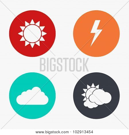 Vector modern weather colorful icons set