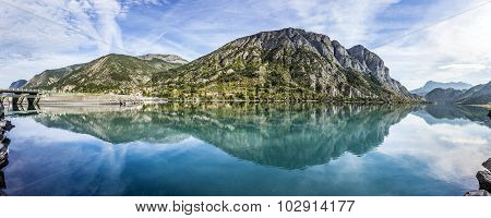 The Durance Lake At Lac De Serre Poncon In The Alps